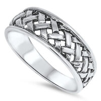 Weave Hatch Band Ring, 925 Sterling Silver, Tribal Filipino Banig Design, W Box