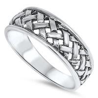 Weave Hatch Band Ring, 925 Sterling Silver, Tribal Filipino Banig Design, W Box
