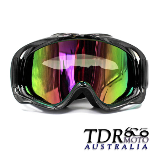 black tinted motocross motorbike goggles anti-fog UV protection dirt quad bike