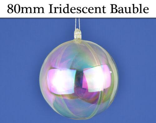 80 mm unique à remplir deux partie irisé plastique babioles de Noël