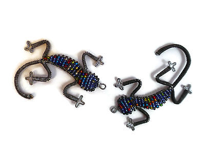 2 Gecko Lizard Charms Antique Silver Tone Incredible Detail SC5860