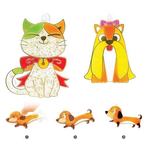 6 Cats and 6 Color Paints AMOS Suncatcher Mini Stained Glass Kit