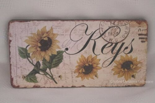Shabby Chic Tournesols keys KEY Rack Holder 4 crochets métalliques en bois 19.5 cm SG1736