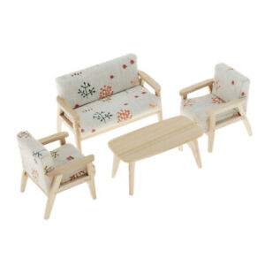1:12 Doll House Miniature Living Room Accs Wooden End Table /& Long Chair Set