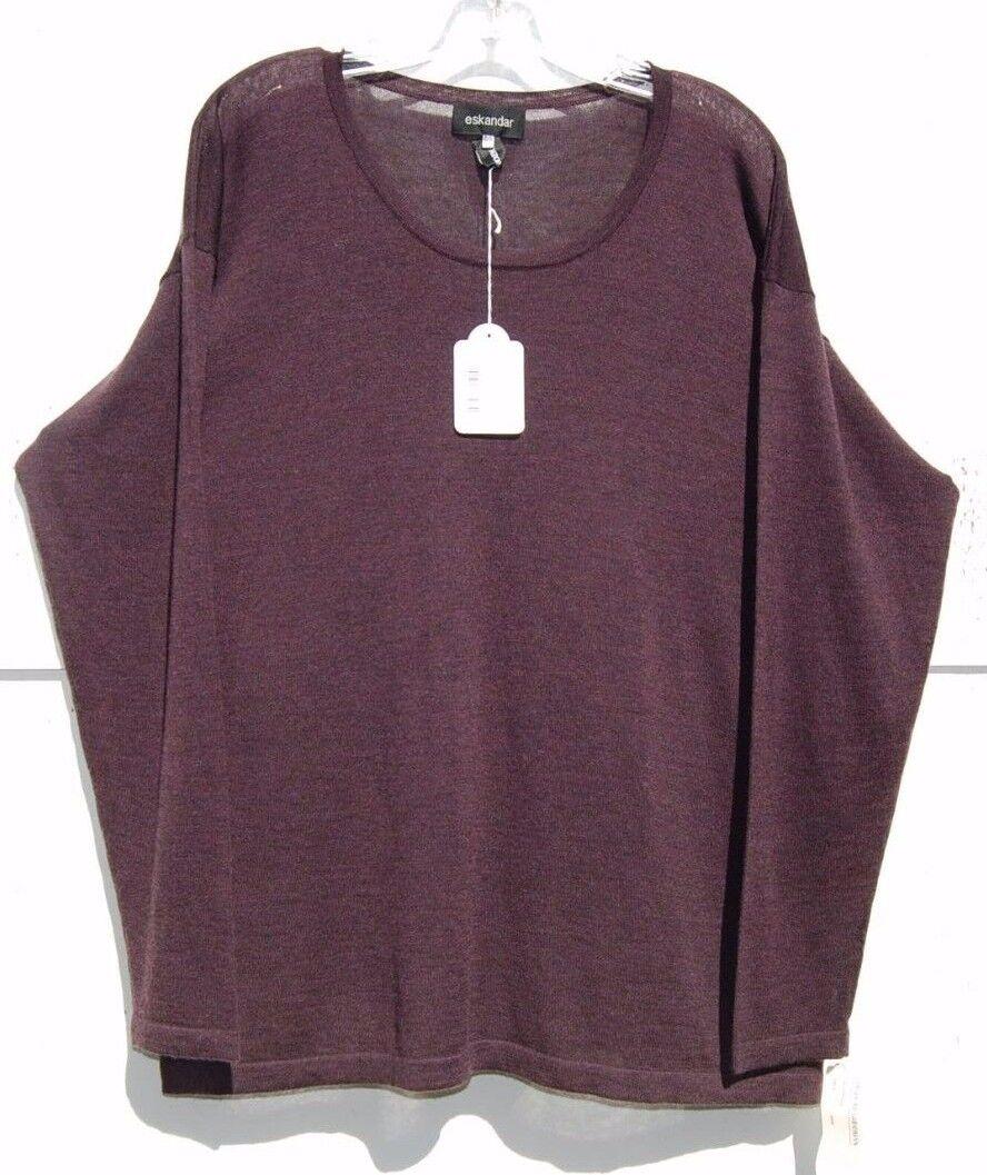 NWT Eskandar Bergdorf PURPLE Light Weight Handloomed Cashmere Sweater O O O S  1090 cadaec
