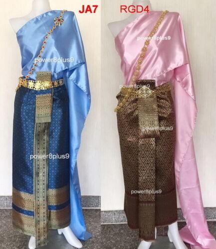 Thai National ClothTop Sabai Asia Oriental Dress Saree Fashion Show Jewelry Set
