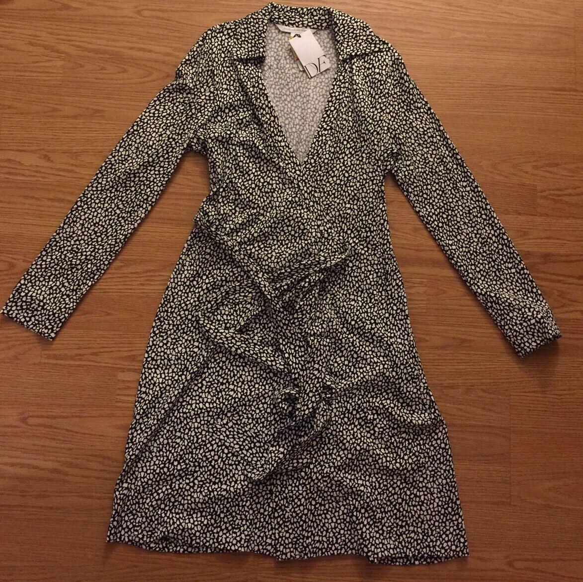 New Diane Von Furstenberg Weiß schwarz Collar V Neck Dress 10  Jeannie Two