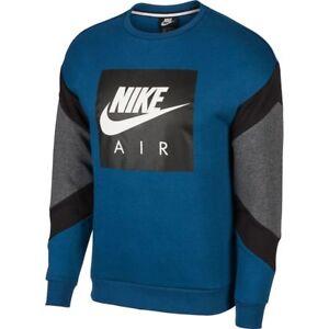 e8d36e4d2 928635-474 Nike Air Fleece Crewneck Sweatshirt Blue Force Black Grey ...
