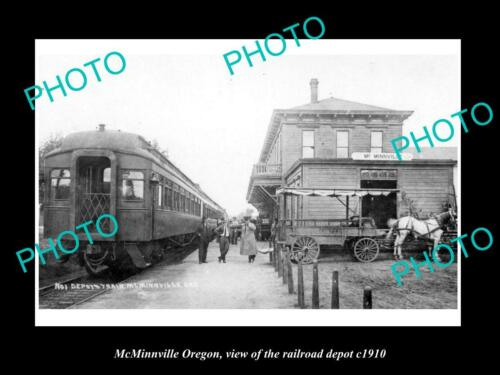 OLD 6 X 4 HISTORIC PHOTO OF McMINNVILLE OREGON, THE RAILROAD DEPOT STATION c1910