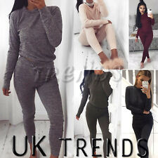 UK Womens 2 PCS Tracksuits Set Ladies Joggers Active Sport Loungewear Size 6-16