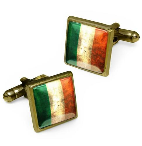 Antique Bronze Irish National Republic of Ireland Flag Glass Cufflink Set w// Box