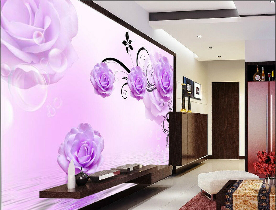 3D lila Flower Leaves 835 Wallpaper Mural Paper Wall Print Wallpaper Murals UK