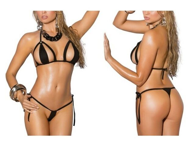 09ae4818b8 UK SIZE 6 8 10 12 ELEGANT MOMENTS BLACK BRAZIL CUT OUT G STRING MICRO BIKINI