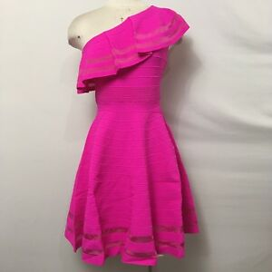 Ted-Baker-sz-1-US-4-Streena-Dress-One-Shoulder-Pink-Stretch-Knit-Fit-amp-Flare-NEW