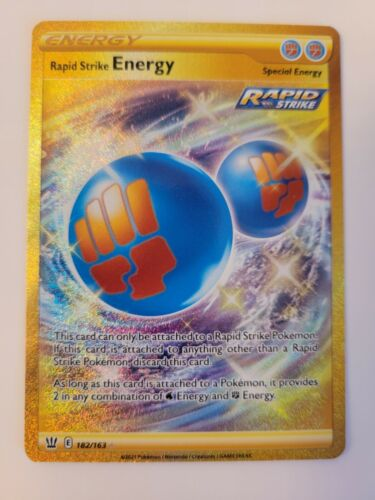 Rapid Strike Energy 182/163 Secret Rare Gold Card Pokemon Battle Styles NM/M