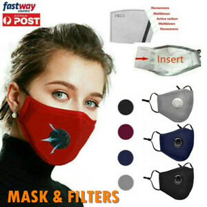 AU Reusable Cloth Cotton Face Mask PM2.5 Filters 5Layer Guard With Air Breathing