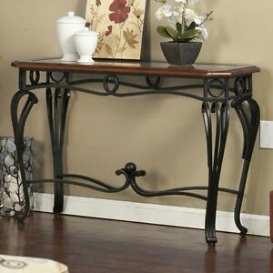 Metal Wood Console Table Sofa Entry Living Room Furniture Glass Top Cherry NE