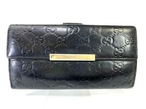 Auth-GUCCI-Guccisima-GG-pattern-Leather-wallet-Purse-Black-Y1283