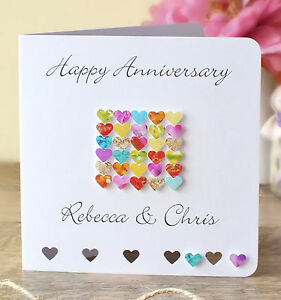Details About Handmade Personalised Wedding Anniversary Card Happy Anniversary Names Bhe21