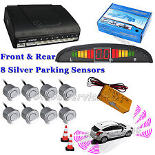 03a94362dd9 Car Reverse Parking Sensor Front Rear 8 Silver Sensors Buzzer Alarm Kit  Display