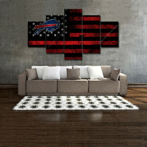 Image Is Loading Buffalo Bills Wall Art Vintage American Flag Canvas
