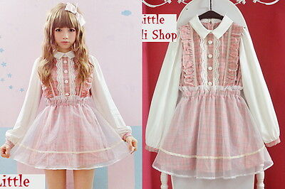 Kawaii Sweet Gothic Lolita Punk Pretty Girls Plaid Lace Pink Dress Onepiece