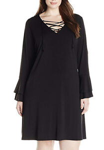 3ed001c092 NEW Karen Kane Plus Laced Neck Ruffle Sleeves Black Dress 3X Retail ...