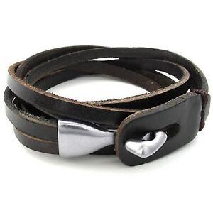Schmuck-Herren-Damen-Armband-Armreif-Leder-Echtleder-Legierung-Schwarz-GY