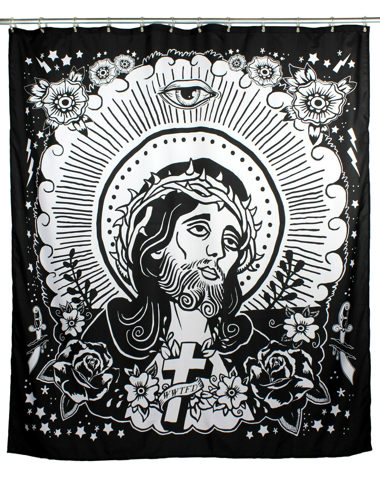TOO FAST JESUS BATHROOM GOTHIC PUNK SPIRITUAL TATTOO SHOWER CULT CURTAIN BATH 1