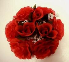 "3 RED Rose Candle Rings Center Pieces Artificial Silk Flower 3"" 4005RD"