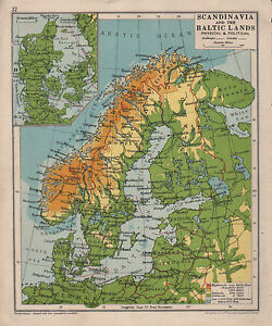 1928 map scandinavia the baltic lands denmark sweden ebay image is loading 1928 map scandinavia amp the baltic lands denmark gumiabroncs Gallery