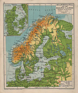 1928 map scandinavia the baltic lands denmark sweden ebay image is loading 1928 map scandinavia amp the baltic lands denmark gumiabroncs