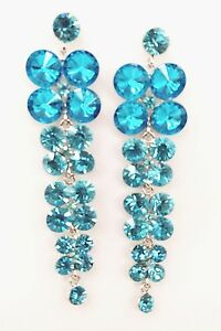 Image Is Loading Exquisitely Teal Blue Iridescent Crystals Waterfall Drop Style