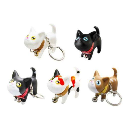 Cat Cartoon Keyring Bell Accessories Trinket Rotatable Keychain Key Chains