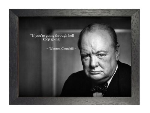 Winston Churchill 5 Inspirational Photo War Hero Motivational Quote A3 Poster
