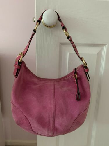 Vintage Authentic COACH Hobo Pink 100% Suede Purse