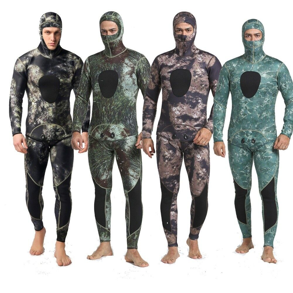 New Neoprene 3mm Camo Wetsuit Two Piece Hooded Spearfishing Diving Suit