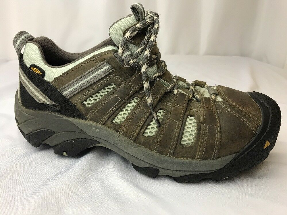Keen Steel Toe 8.5 Women's Work Boot Utility shoes Brown Leather bluee Low Hiking