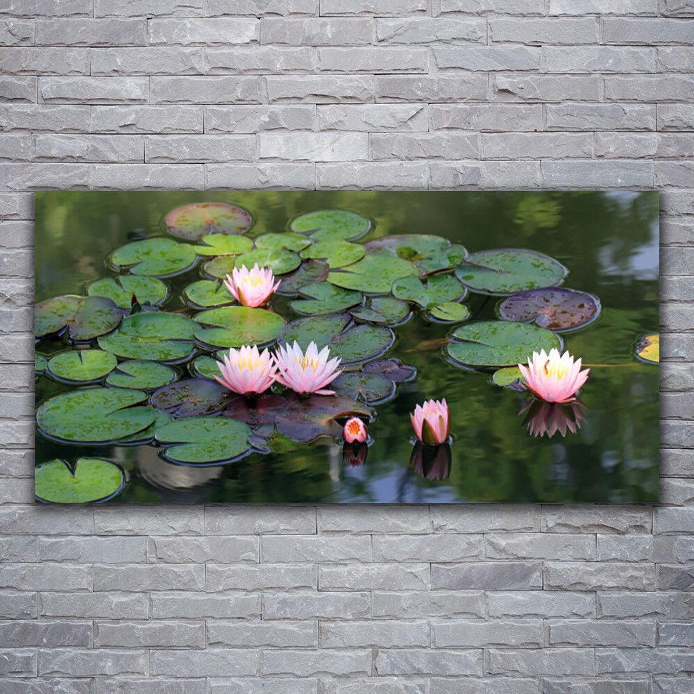 Wandbilder Glasbilder Druck auf Glas 120x60 See Blaumen Blätter Pflanzen