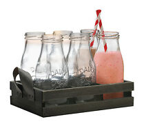 Circleware Land Retro-stil Klein Schule Milchflasche Set Gläser Party Geschenk