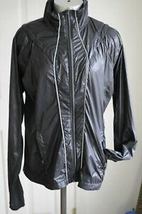 Athleta-Rain-Jacket-Running-Reflective-Nylon-Black-Lightweight-Packable-Size-M