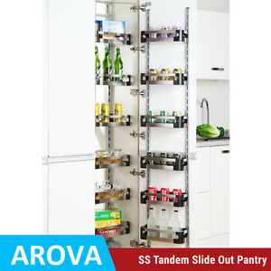 Pull Out Tandem Pantry Unit Slide Stainless Steel Tray Shelf Swing Storage 450mm Ebay