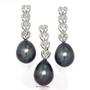 Image Is Loading Black Cultured Pearl Earrings Amp Pendant 14k White