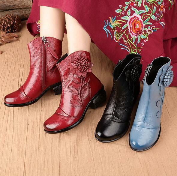 Women's Winter Comfort Leather Ankle Boots Floral Cotton Lined Mother's shoes