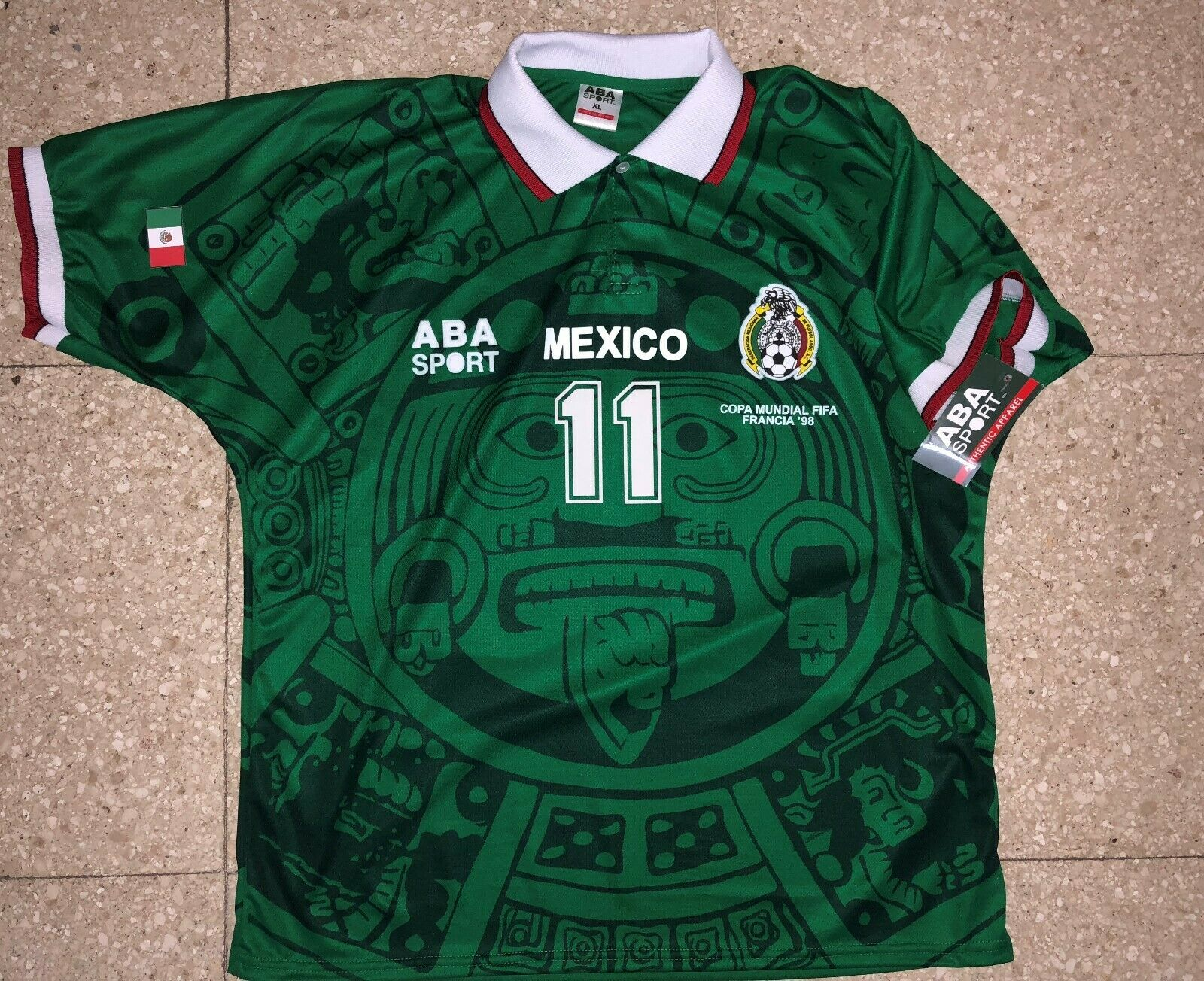 MEXICO HOME 98 Cuauhtemoc wit WC 98, afmeting XL, AUTHENTIC SHIR ABA SPORT