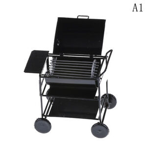 S 1:12 Black Iron BBQ Grill Miniature Garden Outdoor Doll House Accessory Gift