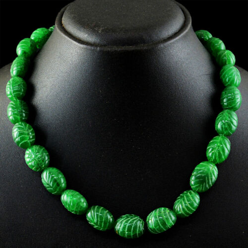 491.00 Cts Earth Mined Carved Green Emerald Oval Shape Beads Handmade Necklace