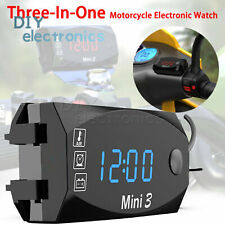 3 In1 Led Electronic Digital Clock Thermometer Voltmeter For 12v Motorcycle Us