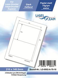 10 Blatt Klebeetiketten DIN A4 weiß 210x148mm Laser Inkjet Kopierer