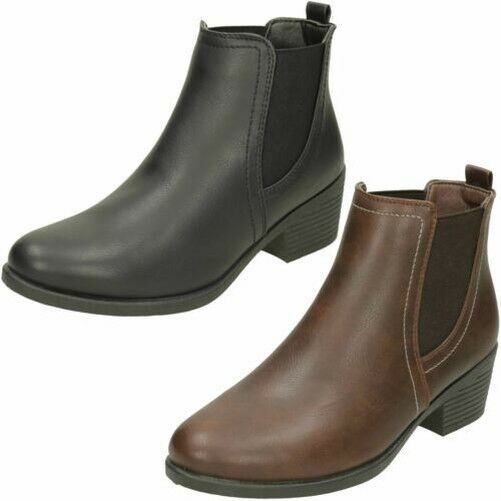 Spot On Ladies Twin Gusset Ankle Boots